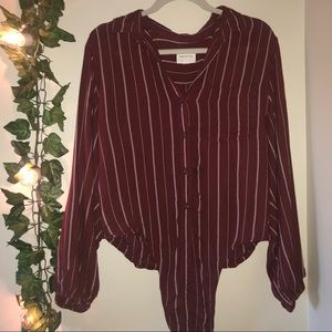 American Eagle Red Tie up Blouse